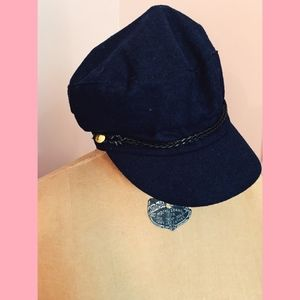 Accessories - Navy Blue Paperboy with Decorative Braided Band